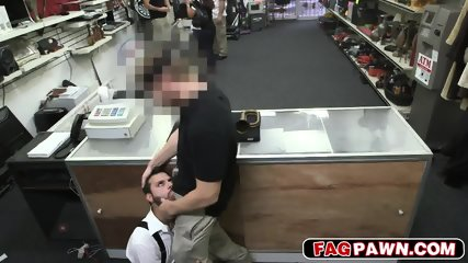 Sucking my big cock behind the counter