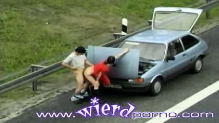 German couple fucks next to a busy highway - scene 5