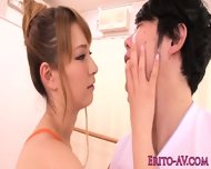 Flexible Busty Japanese Babe Gets Facialized