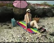 Girl shows bits off at beach - scene 2