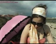 Girl shows bits off at beach - scene 3