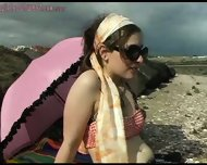 Girl shows bits off at beach - scene 4