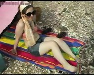 Girl shows bits off at beach - scene 5