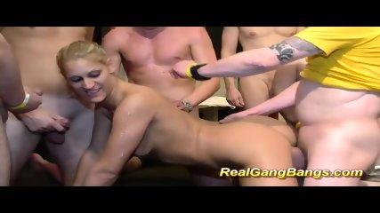 Skinny Teen In Real Gangbang Orgy