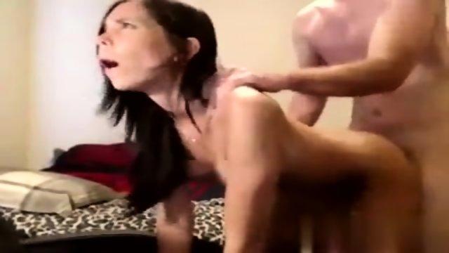 Hot brunette sucks and fucks
