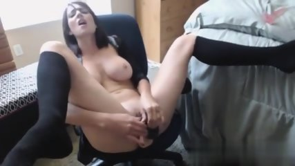Busty girl fucks herself