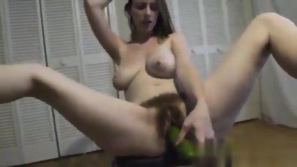 Cucumber In Hairy Vagina - scene 9