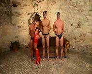 Brunette Fetish MMMF Threesome - scene 1