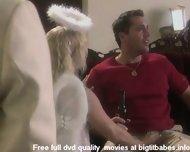 Big boobs blonde pleasuring in angel suit - scene 1