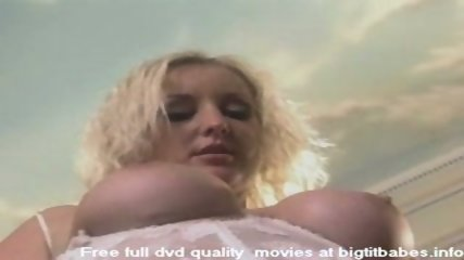 Big boobs blonde pleasuring in angel suit - scene 6