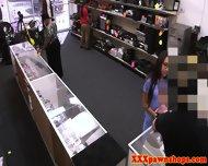 Desperate pawnshop nurse cocksucking for cash