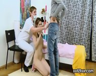 Doctor assists with hymen physical and defloration of virgin teen