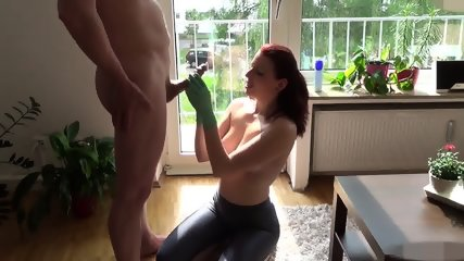 Epic Cumshot Redhead Handjob