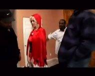 White blond riding-hood fucked by 10 black guys - scene 1