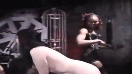 Interracial Lesbian Spanking - scene 2