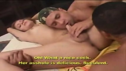 Sexy shemale and two guys - scene 3