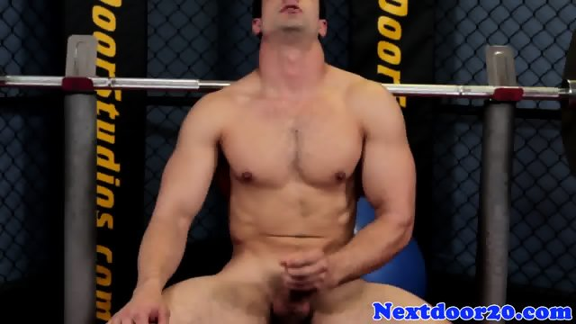 Solo stud working out before jerking off - scene 10