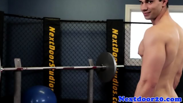 Solo stud working out before jerking off - scene 7