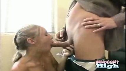 New student Allison showing appreciation for the deans help by sucking his cock empty - scene 8