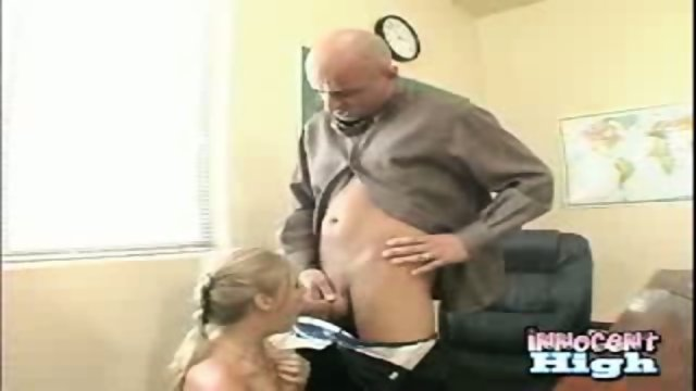 New student Allison showing appreciation for the deans help by sucking his cock empty