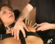 Leather bondage and pussy clamping - scene 10