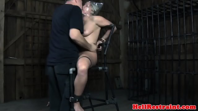 image Masked redhead sub toyed while tied up