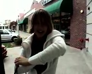 hot girl flashing around town - scene 2