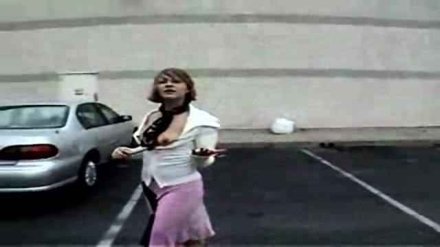 hot girl flashing around town