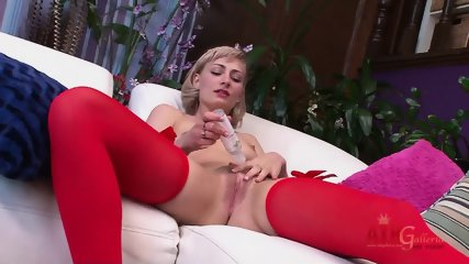 Blonde With Red Stockings Stimulates Vagina - scene 2