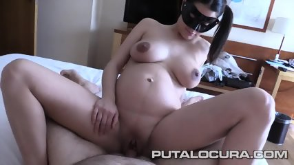 Masked Pregnant Girl Takes Cock