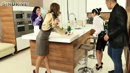 Teaching Asian Maid About High-Class Ass To Mouth Group Sex - scene 1