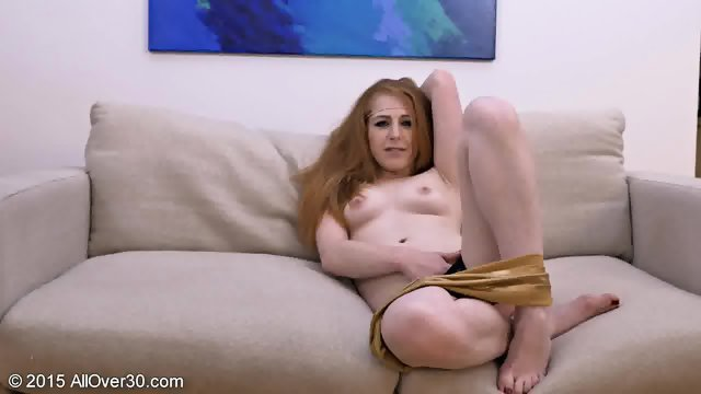 Redhead Young Mom On Sofa