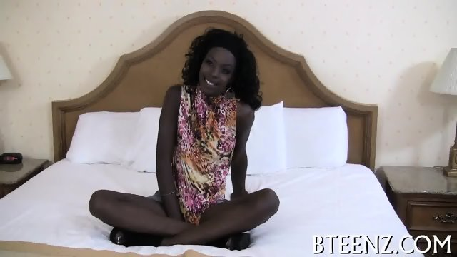 Filthy ebony teenie and her fuckmate