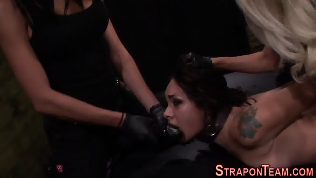 Bound slave strapon rail