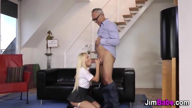 Teen gets old dude cum