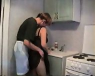 Amateur - Young guy fuckes mature in the kitchen - scene 1