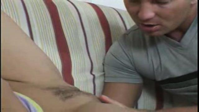 Cute girl gets fucked on sofa
