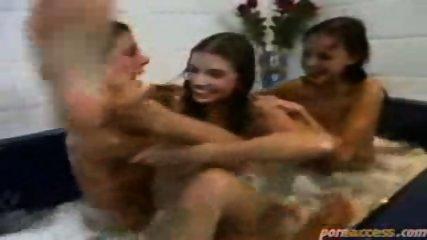 SMOKING 3way Lesbian in Bath - scene 1