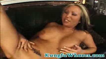 Blonde asian slut rides hard on a stiff cock - scene 7