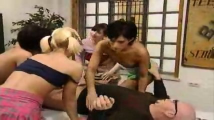 4 Girls Gets Schooled by an Older Man - scene 5