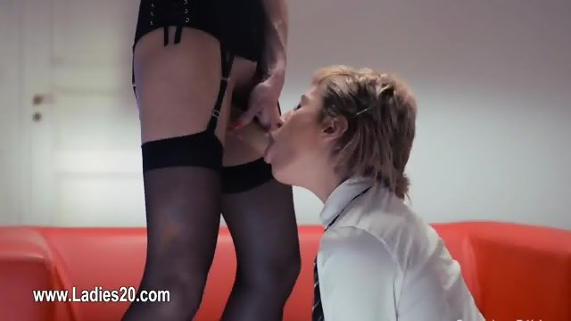Huge toy in their hands trying first lesbians sex
