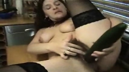 German hairy Bitch plays with Cucumber - scene 7
