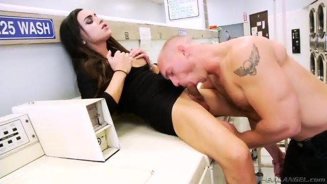 TS Madison Montag fucks the laundry boy