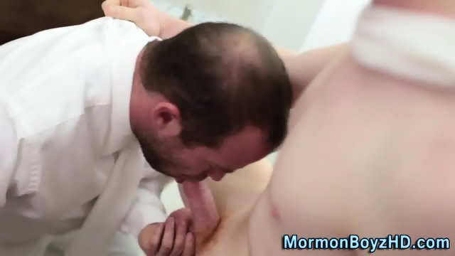 Uniform Elder Spews Cock