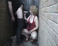 Homemade - Mature woman in red in the allyway - scene 10