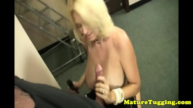 Bigtitted housewife jerking cock