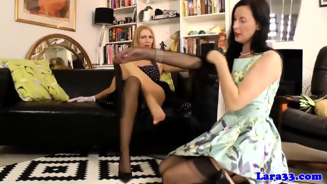 European lesbians pussyrubbing in stockings