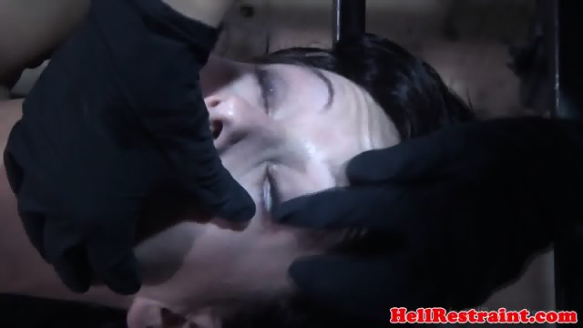 Restrained sub fucked by sadistic dom