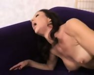 MILF fucks all over purple sofa - scene 3