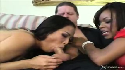 Ebony and asian babes suck a white guy. - scene 9